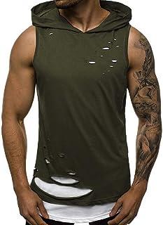 Abeaicoc Mens Hooded Sleeveless Sweatshirt Pullover Fake-2Pcs Ripped Destroyed Jersey T-Shirt Tank Top