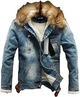 Men's Denim Fleece Jacket Casual Faux Fur Collar Sherpa Coat Jeans Trucker Jacket