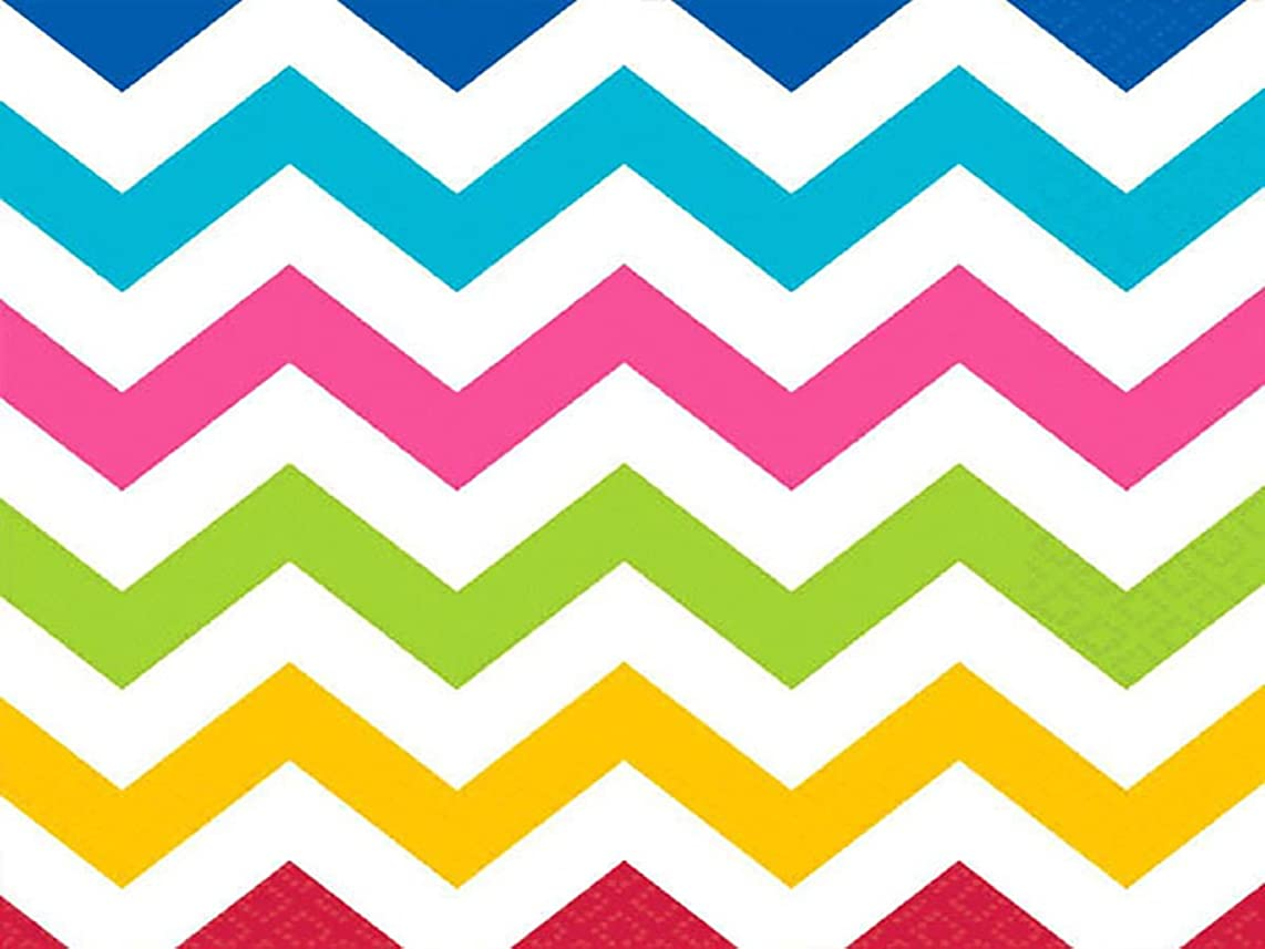 Amscan Perfect Disposable Chevron Print Luncheon Napkins Multicolored Paper 6