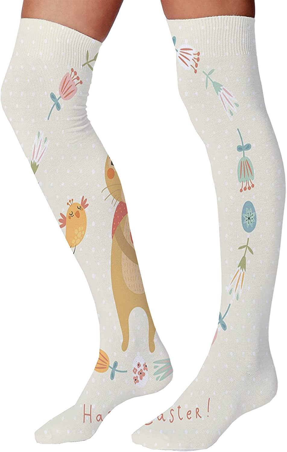 Unisex Dress Cool Colorful Fancy Novelty Funny Casual Combed Cotton Crew Socks,Bunny with a Basket in Hand and Bird Inside Floral Banner Happy Easter Print Pastel