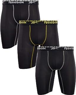 Reebok Men's Compression Long Length Performance Boxer Briefs (3 Pack)