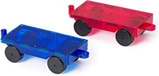 Playmags 2 Piece Car Set: with Stronger Magnets, STEM Toys for Kids, Use with All Magnetic Tiles and Blocks Sturdy, Super ...