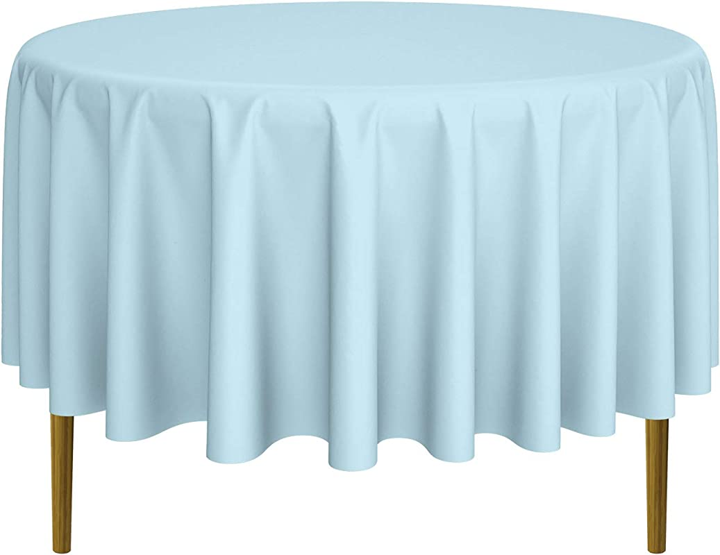 Lann S Linens 90 Round Premium Tablecloth For Wedding Banquet Restaurant Polyester Fabric Table Cloth Baby Blue