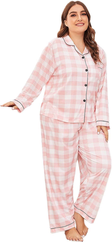Floerns Women's Plaid Printed PJ Sets Two Piece Pajama Sleepwear