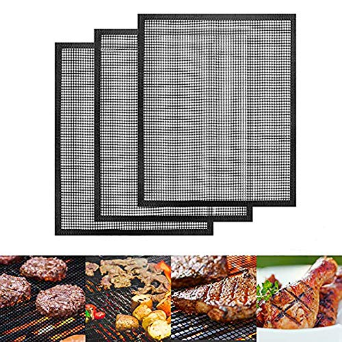 Number-one BBQ Grill Mats Set of 3, Non Stick 40x33cm Barbecue Baking Mats, Reusable and Easy to Clean, Grilling Mesh Heat Resistant Up to 500F (260 ℃), FDA Aproved, PFOA Free