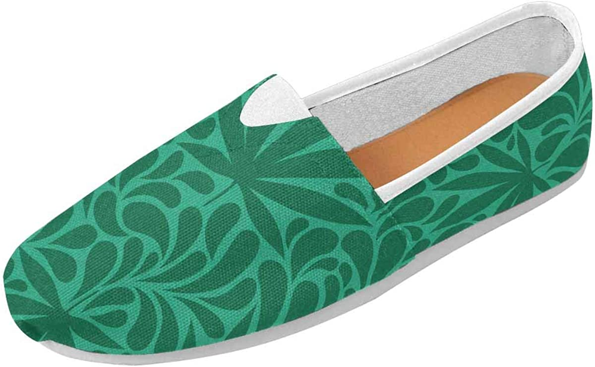 INTERESTPRINT Cannabis Leaves, Retro Women's Loafers Casual Slip On Flats