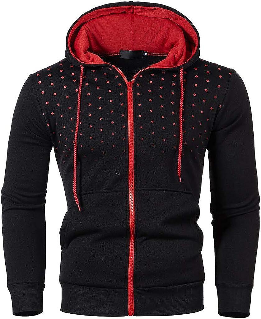 7789 Regular Fit Polka Dot Hoodie Men Contrast Color Zip Up Hooded Jacket Drawstring Hoodie Pullover with Pockets