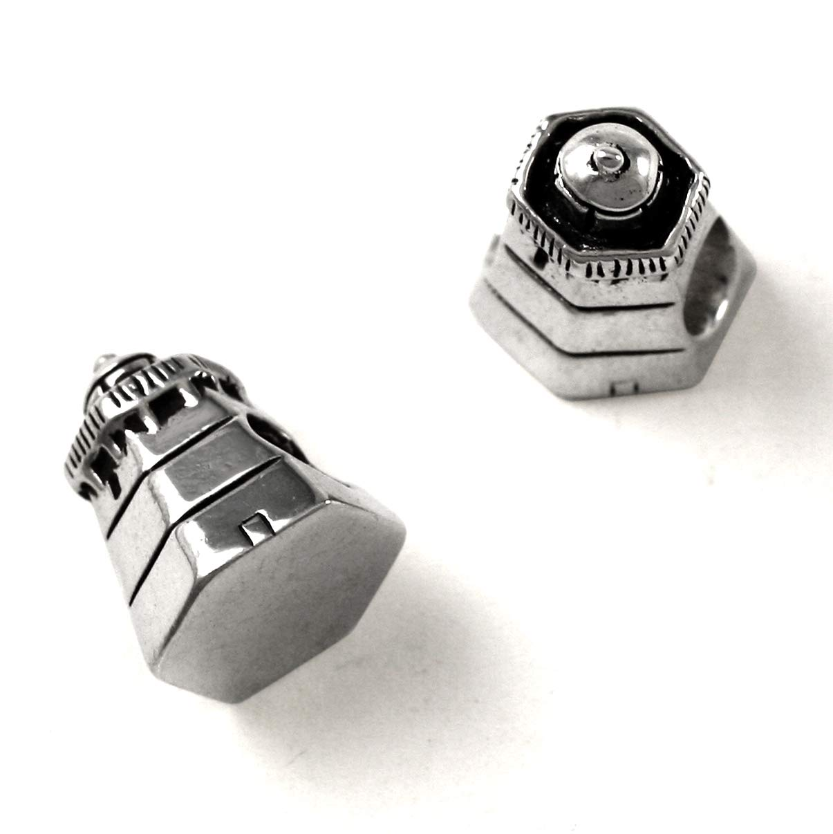 Hexagonal Lighthouse Charm Bead - Sterling 925 Silver Fi Special price for a Safety and trust limited time Solid
