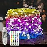 DELICHTER - Cadena de luces LED, 100 ledes, diseño de perlas,...