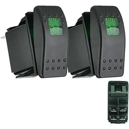 Qiorange Kfz Auto Offroad Kippschalter Druckschalter Schalter Wippschalter Wasserdicht 12v 20a Grün Led Licht 4pin An Aus Grün 2 Pcs Auto