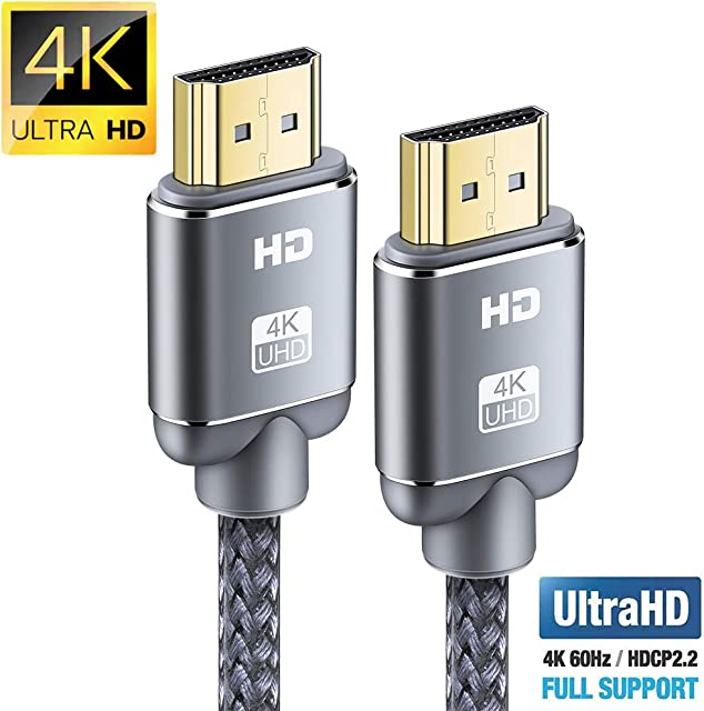Cable HDMI 4K 2metros-Snowkids Cable HDMI 2.0 de Alta Velocidad Trenzado de Nailon 4K a 60Hz a 18Gbps Compatible con Fire TV 3D Función Ethernet Video 4K UHD 2160p HD 1080p-Xbox 360 PS3 PS4 - Gris