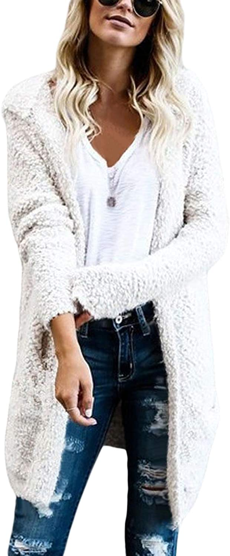 GOSOPIN Women Fashion Hooded Open Front Knit Cardigan Casual Coat