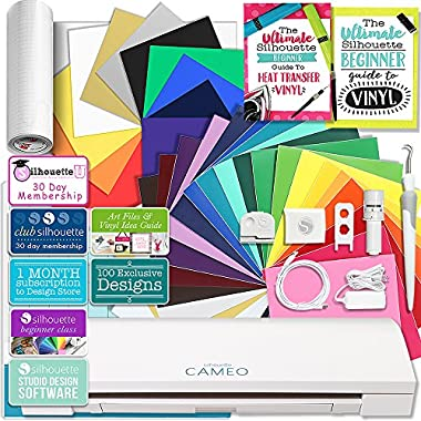 Silhouette Cameo 3 Bluetooth Creative Bundle with 24 Oracal 651 Sheets and 12 Siser Easyweed Heat Transfer Sheets