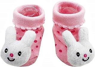 Lovelegis, Calcetines antideslizantes para niños - bebés - 0/12 meses - fantasía - conejito - lunares rosados - hombre - mujer - unisex - idea de regalo de cumpleaños
