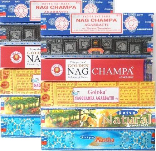 Incense Sticks Satya Nag Champa 12 Boxes 6 Nagchampa fragrances home fragrance by Goloka, Satya Shrinivas Sugandhalaya, Vijayshree Fragrance
