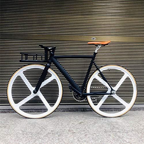 Pakopjxnx Cadre De Vélo 53cm Vélo Musculaire en Alliage D'aluminium Piste De Cyclisme À 4 Rayons Roue en Alliage De Magnésium Accessoires De Cycle, Noir, 53cm (170cm-180cm)