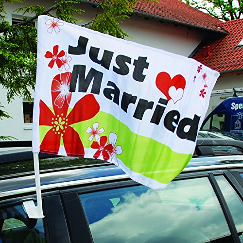 Weddix 20 Autoflaggen Hochzeit Just Married mit Blüten und Herzen - Fahne für die Autodeko, personalisierbar mit Namen des Brautpaares