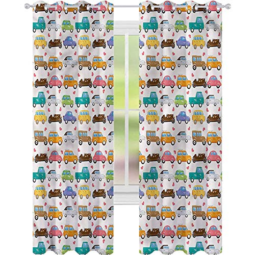 YUAZHOQI Cortina de ventana para niños, diseño de corazones pequeños, estilo vintage, para dormitorio de niños, 132 x 160 cm (2 paneles)