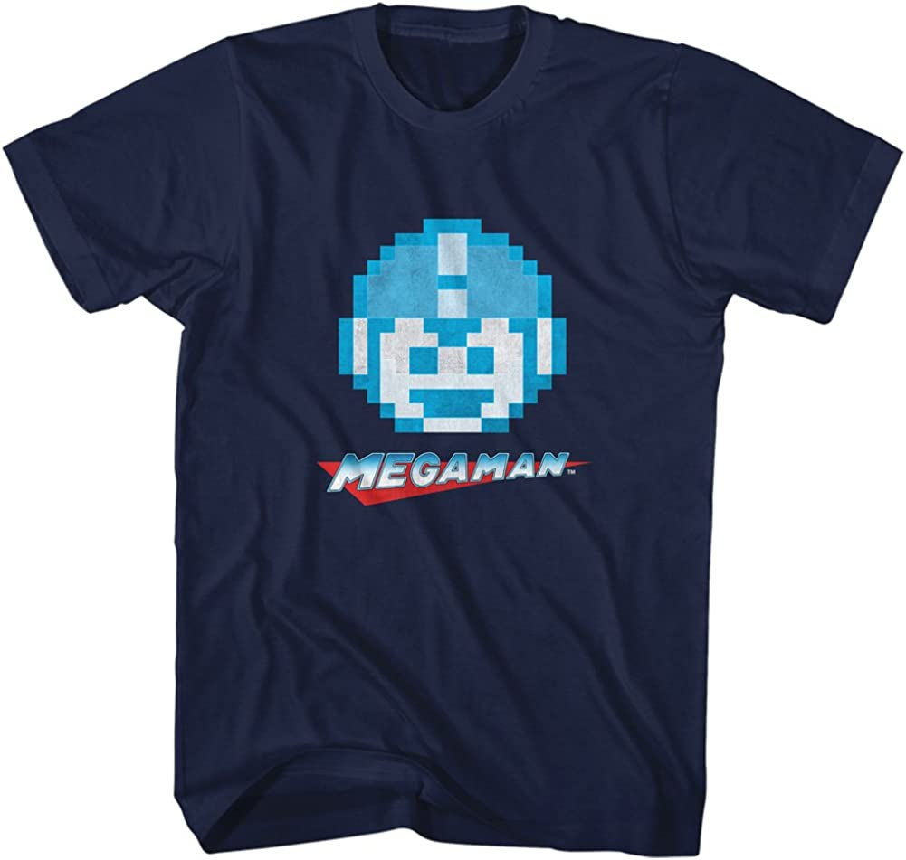 Mega Man Rockman Video Game Face Character T-Shi Pixelated Excellent store Adult