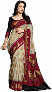 Jaanvi fashion Women's Bhagalpuri Cotton Printed SareeWith Unstitched Blouse