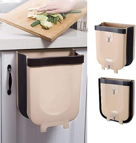 Foldable Trash Bin Hanging Waste Bin Under Kitchen Sink,Wall Trash Can Plastic Wastebasket Over Cabinet Door with Top...