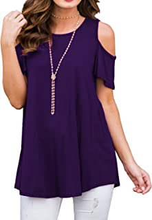 Kancystore Women's Casual Cold Shoulder Tunic Tops Short Sleeve Loose Blouse Shirts