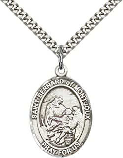 Sterling Silver St. Bernard of Montjoux Pendant with 24