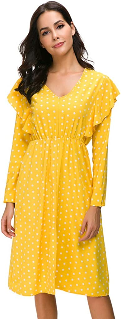 Women Fashion Dot Ruffle Deep V Neck Long Sleeve Dress