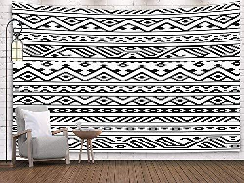 Tapices de Arte, Tapiz de Pared Colgante para Dormitorio y Sala de Estar Dormitorio y patrón de Bordes Aztecas geométricos étnicos Blancos