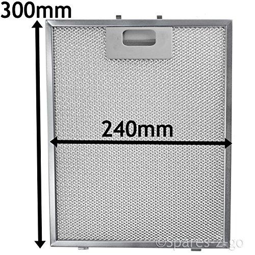 SPARES2GO Metalen gaasfilter voor Samsung afzuigkap/afzuigkap Ventilator (zilver, 300 x 240 mm)