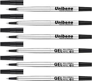Unibene Parker Compatible Rollerball Refill 6 Pack, 0.7mm Medium Point - Black, Smooth Writing Replaceable German Gel Ink ...