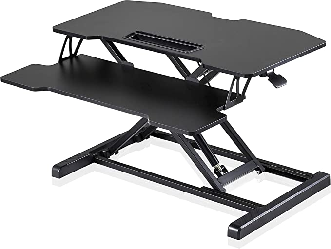 Fenge Standing Desk Converter 32in Black Height Adjustable Desk Converter with Keyboard Tray Sit to Stand Up Desk : Amazon.co.uk: Home & Kitchen
