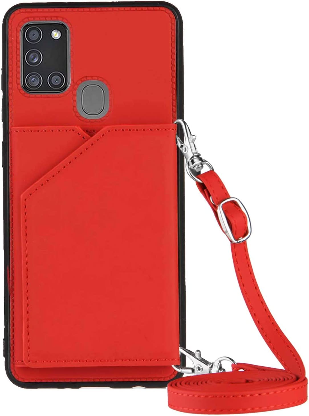 Galaxy A21S Wallet Case for Samsung A21S Lanyard Case, Shockproof Stand Bumper Cover Cross-Body Girly Case (Red)