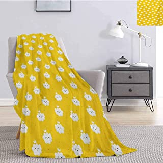 jecycleus Yellow and White Bedding Microfiber Blanket Cute Cloud Princesses with Crown on Star Patterned Background Super Soft and Comfortable Luxury Bed Blanket W70 by L90 Inch Earth Yellow White