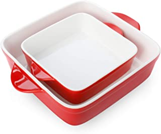 Sweese 514.204 Porcelain Baking DishSet of 2, Square Lasagna Pans, 8 x 8 inch & 6 x 6 inch Non-stick Brownie Pan with Double Handle - Red