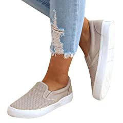 baac21b038e Pxmoda Womens Fashion Pinhole Cushioned Sneakers Casual Slip- .