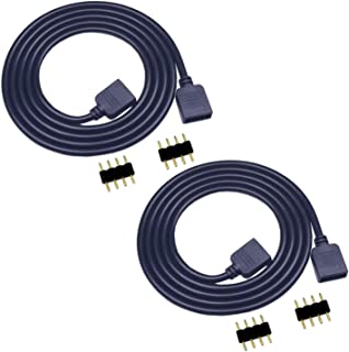 TronicsPros 2pcs 2m/ 6.6ft RGB LED Strip Extension Cable 4 Pin Flex LED Tape Light Extension Cord LED Ribbon Connector Wir...