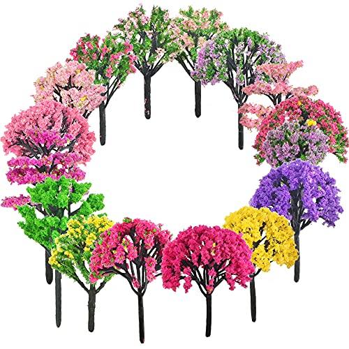 CODIRATO 16 Stück Gemischtes Bäume Landschaft Modell Bäume Mixed Bäume Modellbau Miniatur Kunststoff Bäume Klein Architektur Bäume Mini Baum Deko Künstliche Pflanzen für DIY Landschaft Gartendeko