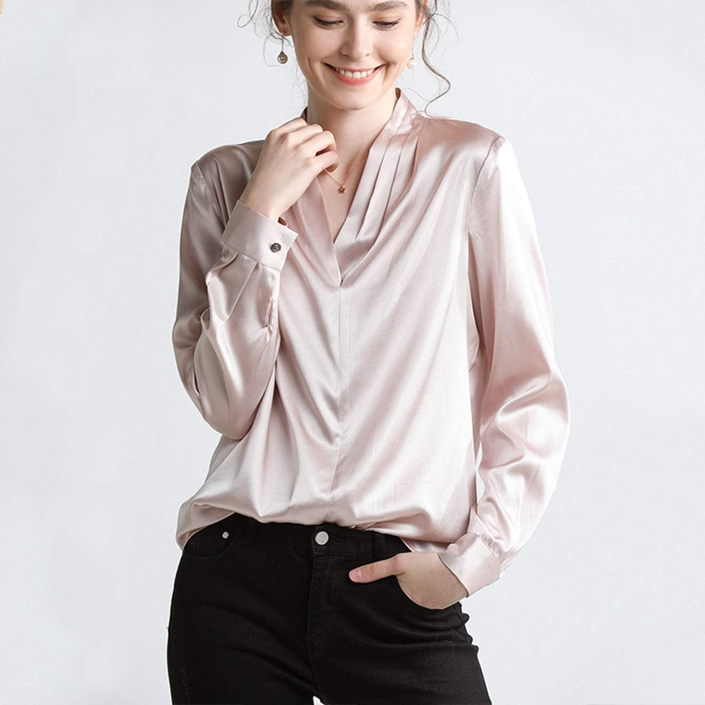 XCXDX Camisa De Seda con Cuello De Pico para Mujer, Blusa ...