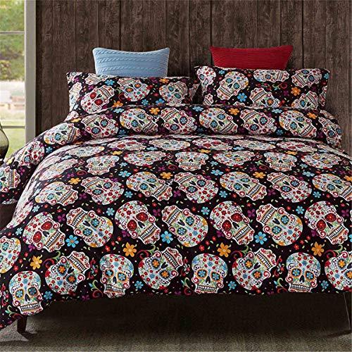 WONGS BEDDING Bettwäsche 3D Schädel Bettbezug Set 200x200 cm Bettwäsche Set 3 Teilig Bettbezüge Mikrofaser Bettbezug mit Reißverschluss und 2 Kissenbezug 50x75cm