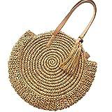 ADUO Runde Korbflecht Schultertasche Quasten Strandtasche mit Langen Henkeln, Flechttasche, Tasche geflochten, Shopper, Damen