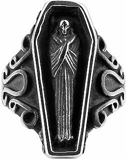 HAMZN Stainless Steel Vampire Coffin Jewelry for Men Fashion Punk Biker Skull Rings Size 8-13