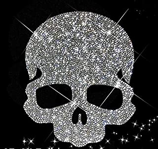 Large Skull Rhinestone Transfer - Iron on hot fix, Crystal Bling Shirts - Design Motif for Hat,Jacket, Applique, Gymnast, Heat, hot fix