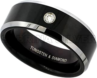 8mm Black Tungsten 900 Diamond Wedding Ring 0.07 cttw Two-tone Beveled Edges Comfort fit, sizes 8 to 13