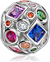 NINAQUEEN Christmas Charms Gifts Summer Rainbow 925 Sterling Silver Colorful Beads Openwork Bead Charm Great for Bracelet and Necklace Jewelry