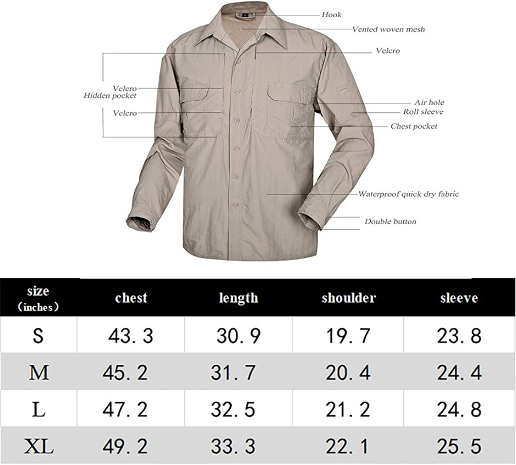APRAW Mens Quick Dry Travel Outdoor Shirts Waterproof Long Roll Sleeves UV Protection Hiking Fishing Camping