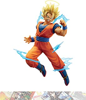 Super Saiyan 2 Son Goku: 15cm BanPresto Dokkan Battle Collab Statue Figurine & 1 D.B. Trading Card Bundle (39943)