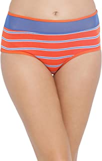 Clovia Women's Cotton High Waist Hipster Striped Panty with Sheer Waist