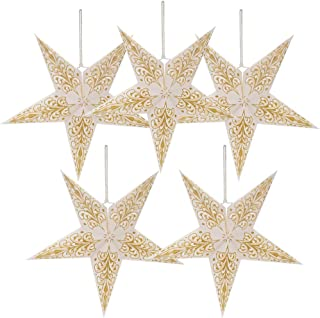 """5 Packs 20"""" Paper Star Lantern Lampshade Hanging Christmas Xmas Day Decoration for LED Light Wedding Birthday Party Home Decor Hollow Out Design(Lights not Included) (White with Gold)"""