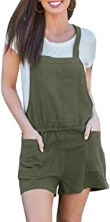 8471f824e060 Welkomdream Womens Drawstring Short Overalls Back Criss Cross Romper Shorts  with Pockets